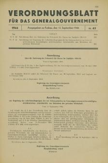 Verordnungsblatt für das Generalgouvernement. 1944, Nr. 43 (15 September)