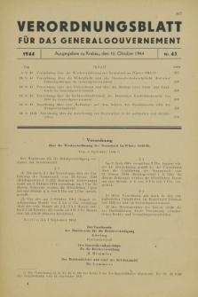 Verordnungsblatt für das Generalgouvernement. 1944, Nr. 45 (10 Oktober)