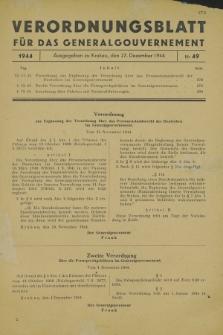Verordnungsblatt für das Generalgouvernement. 1944, Nr. 49 (27 Dezember)