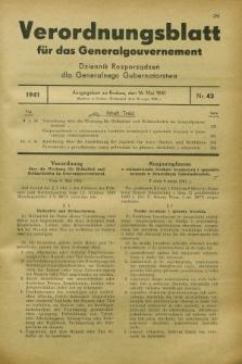 Verordnungsblatt für das Generalgouvernement = Dziennik Rozporządzeń dla Generalnego Gubernatorstwa. 1941, Nr. 43 (16 Mai)