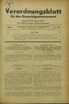 Verordnungsblatt für das Generalgouvernement = Dziennik Rozporządzeń dla Generalnego Gubernatorstwa. 1943, Nr. 72 (11 September)