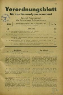 Verordnungsblatt für das Generalgouvernement = Dziennik Rozporządzeń dla Generalnego Gubernatorstwa. 1943, Nr. 76 (25 September)