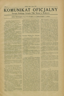 Komunikat Oficjalny Zarządu Polskiego Związku Piłki Nożnej w Krakowie. 1925, nr 7 (4 lipca)