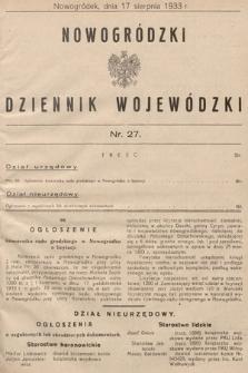 Nowogródzki Dziennik Wojewódzki. 1933, nr27