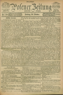 Posener Zeitung. Jg.100, Nr. 738 (20 Oktober 1893) - Mittag=Ausgabe.