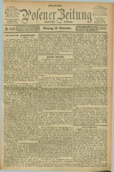 Posener Zeitung. Jg.100, Nr. 816 (20 November 1893) - Mittag=Ausgabe.