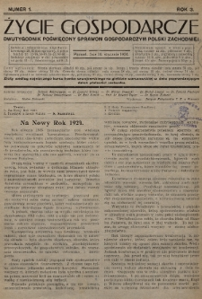 Życie Gospodarcze : dwutygodnik poświęcony sprawom gospodarczym Polski Zachodniej. R. 3 (1924), nr1