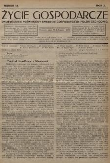 Życie Gospodarcze : dwutygodnik poświęcony sprawom gospodarczym Polski Zachodniej. R. 3 (1924), nr18