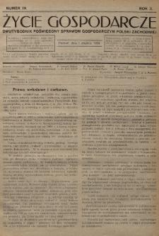 Życie Gospodarcze : dwutygodnik poświęcony sprawom gospodarczym Polski Zachodniej. R. 3 (1924), nr19