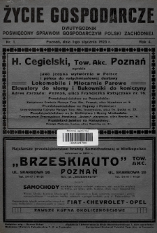 Życie Gospodarcze : dwutygodnik poświęcony sprawom gospodarczym Polski Zachodniej. R. 4 (1925), nr1