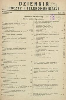 Dziennik Poczty i Telekomunikacji. 1951, Skorowidz alfabetyczny