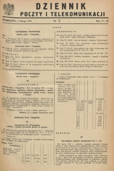 Dziennik Poczty i Telekomunikacji. 1951, nr 2 (5 lutego) + dod.