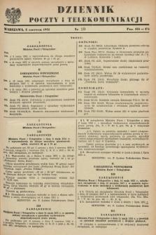 Dziennik Poczty i Telekomunikacji. 1951, nr 10 (5 czerwca)