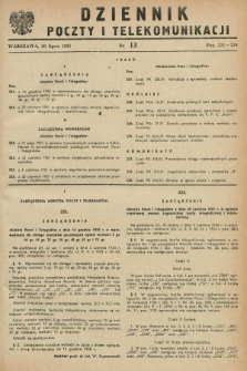 Dziennik Poczty i Telekomunikacji. 1951, nr 13 (20 lipca) + wkładka