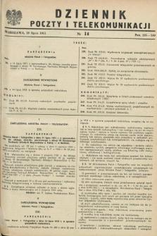 Dziennik Poczty i Telekomunikacji. 1951, nr 14 (28 lipca) + wkładka
