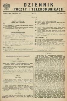 Dziennik Poczty i Telekomunikacji. 1951, nr 23 (5 grudnia) + dod.