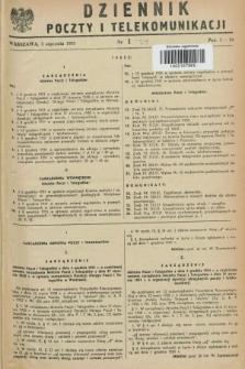 Dziennik Poczty i Telekomunikacji. 1952, nr 1 (5 stycznia)