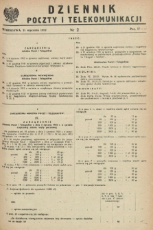 Dziennik Poczty i Telekomunikacji. 1952, nr 2 (21 stycznia)