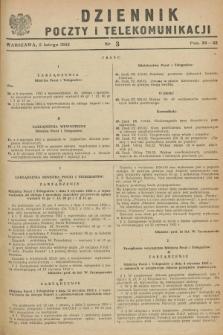 Dziennik Poczty i Telekomunikacji. 1952, nr 3 (5 lutego)