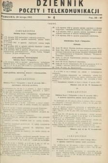 Dziennik Poczty i Telekomunikacji. 1952, nr 4 (20 lutego)