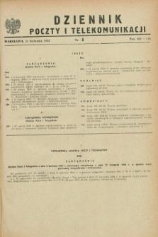 Dziennik Poczty i Telekomunikacji. 1952, nr 8 (21 kwietnia) + wkładka