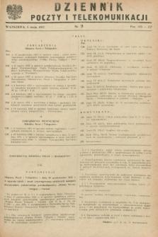 Dziennik Poczty i Telekomunikacji. 1952, nr 9 (5 maja) + wkładka