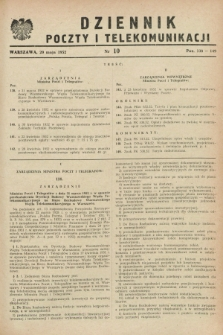 Dziennik Poczty i Telekomunikacji. 1952, nr 10 (20 maja)