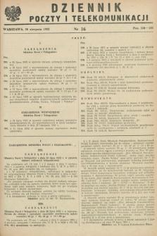 Dziennik Poczty i Telekomunikacji. 1952, nr 16 (20 czerwca)