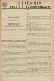 Dziennik Poczty i Telekomunikacji. 1952, nr 17 (5 września)