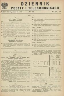 Dziennik Poczty i Telekomunikacji. 1952, nr 20 (20 października)