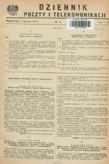 Dziennik Poczty i Telekomunikacji. 1953, nr 1 (5 stycznia)
