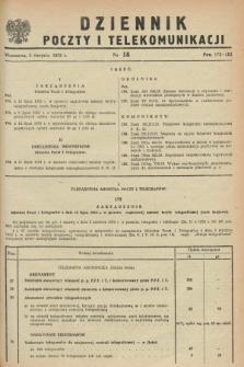 Dziennik Poczty i Telekomunikacji. 1953, nr 18 (5 sierpnia)