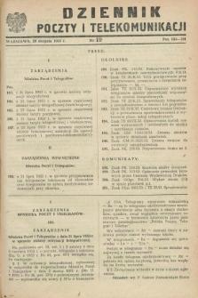 Dziennik Poczty i Telekomunikacji. 1953, nr 19 (20 sierpnia)