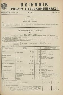 Dziennik Poczty i Telekomunikacji. 1953, nr 21 (21 września)