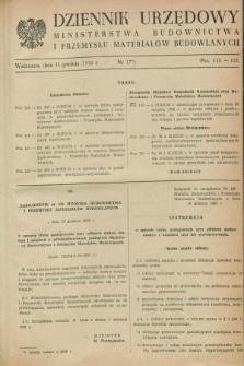Dziennik Urzędowy Ministerstwa Budownictwa i Przemysłu Materiałów Budowlanych. 1958, nr 17 (31 grudnia)
