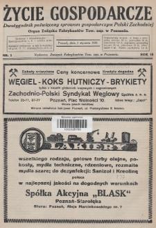 Życie Gospodarcze : dwutygodnik poświęcony sprawom gospodarczym Polski Zachodniej : organ Związku Fabrykantów Tow. zap. w Poznaniu. R. 10 (1931), nr1