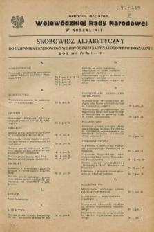 Dziennik Urzędowy Wojewódzkiej Rady Narodowej w Koszalinie. 1959, Skorowidz alfabetyczny