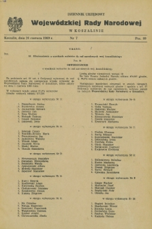 Dziennik Urzędowy Wojewódzkiej Rady Narodowej w Koszalinie. 1969, nr 7 (20 czerwca)