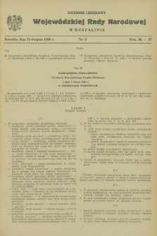 Dziennik Urzędowy Wojewódzkiej Rady Narodowej w Koszalinie. 1969, nr 9 (28 sierpnia)