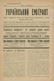 Ukraïns'kij Emigrant : organ Tovaristva Opìki nad Ukraïns'kimi Emìgrantami u L'vovi. R.3, č. 5 (15 bereznâ 1929)