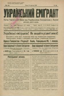 Ukraïns'kij Emigrant : organ Tovaristva Opìki nad Ukraïns'kimi Emìgrantami u L'vovi. R.3, č. 18 (30 veresnâ 1929)