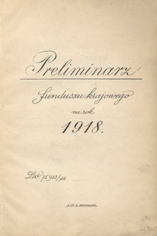 Preliminarz funduszu krajowego na rok 1918