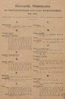 Nowogródzki Dziennik Wojewódzki. 1930, skorowidz alfabetyczny