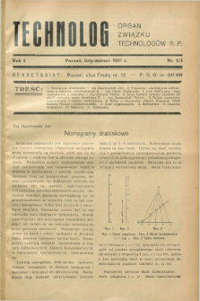 Technolog : organ Związku Technologów R.P. R.5, Nr. 2/3 (luty/marzec 1937)