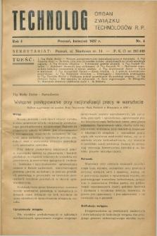 Technolog : organ Związku Technologów R.P. R.5, Nr. 4 (kwiecień 1937)