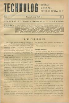 Technolog : organ Związku Technologów R.P. R.5, Nr. 5 (maj 1937)