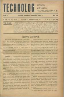 Technolog : organ Związku Technologów R.P. R.5, Nr. 8/9 (sierpień/wrzesień 1937)