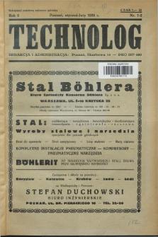Technolog : organ Związku Technologów R.P. R.6, Nr. 1/2 (styczeń/luty 1938)
