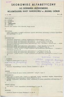 Dziennik Urzędowy Wojewódzkiej Rady Narodowej w Jeleniej Górze. 1983, Skorowidz alfabetyczny