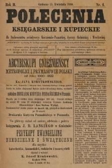 Polecenia Księgarskie iKupieckie : dla duchowieństwa archidyecezyi Gnieźnieńsko-Poznańskiej, dyecezyi Chełmińskiej iWrocławskiej. 1890, nr4